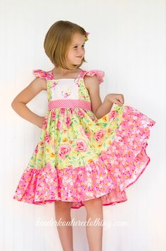 Girls Summer Pink and Yellow Sophia Dress  Size by KinderKouture, $68.00