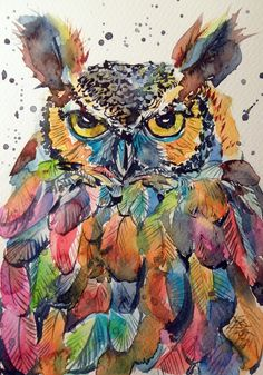 Colorful owl, Watercolour painting by Kovács Anna Brigitta | Artfinder