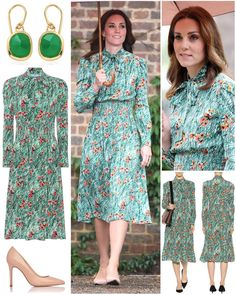 """4,646 Likes, 38 Comments - Catherine Duchess Of Cambridge (Kate Obrien) on Instagram: """"The Duchess braved the rain to visit Kensington Palace's White Garden in a new floral dress by…"""""""