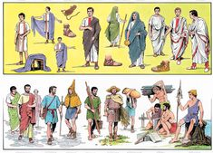 many different classes, occupations and clothing of the Romans ~ illustration by O. Scarpelli