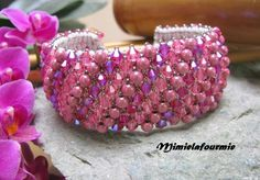 Bracelet Manchette - perles Toupies Swarovsky + Miracle -Rose