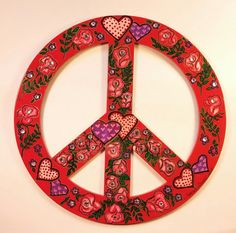 Hearts and Flowers in Harmony Peace Sign  by PeaceSignsHippieCat
