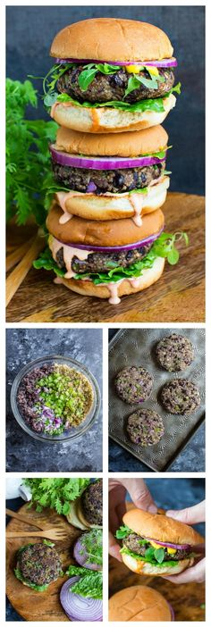 Quinoa Black Bean Veggie Burgers Recipe – Peas and Crayons Quinoa Black Bean Veggie Burgers piled high with all your favorite toppings and a spicy Sriracha mayo! These easy peasy burgers are vegetarian with gluten-free and vegan options. Black Bean Veggie Burger, Bean Burger, Veggie Burgers, Burger Recipes, Grilling Recipes, Grilling Ideas, Beef Recipes, Vegan Vegetarian, Black Beans