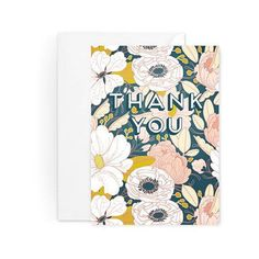 Paper Raven Co. Dark Floral Thank You Card - Set Of 8 Pink, Cream,... ($22) ❤ liked on Polyvore featuring home, home decor and stationery