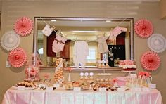 Amazing site with tons of baby shower/wedding shower/party set-up ideas! (Pictured here: Vintage Pink Baby Shower Brunch).