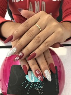 Acrylic nails, christmas nails, red nails, nails art