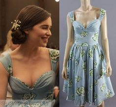 Lou Clark (Emilia Clarke) wears this blue floral printed vintage style dress in the movie Me Before You. It is Custom Made