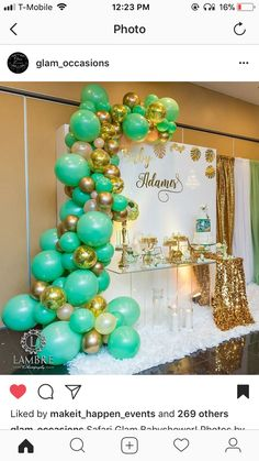 Balloon wall teal and gold Shower Party, Baby Shower Parties, Baby Shower Themes, Baby Shower Decorations, Baby Boy Shower, Bridal Shower, Balloon Backdrop, Balloon Columns, Balloon Garland