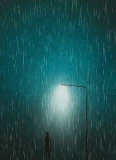 Animated GIF - rainy night under streetlamp