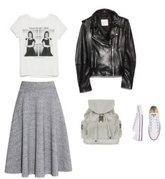Sylwetka Y: Spódnica H&M  Bluzka, kurtka Mango  Plecak Topshop  Buty Converse