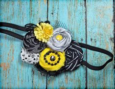 Bumble Bee Headband Black Sunny Yellow Hair by CrowningPetals, $19.50
