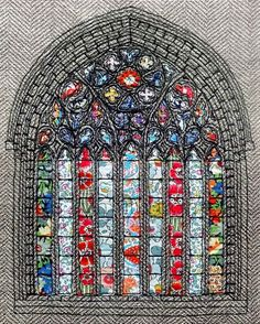 """""""Paisley Abbey"""" appliqué & free-motion embroidery textile art by Roslyn Mitchell Freehand Machine Embroidery, Free Motion Embroidery, Machine Embroidery Projects, Machine Embroidery Patterns, Embroidery Art, Textiles, Paisley, Sewing Art, Textile Artists"""