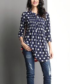 This Blue & White Star Notch Neck Tunic is perfect! #zulilyfinds