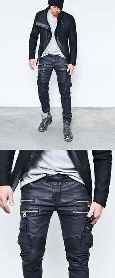 Bottoms :: Full Leather Cargo Seaming Slim Biker-Pants 158 - Mens Fashion Clothing For An Attractive Guy Look
