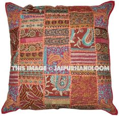 Embroidered Cushions For Couch Indian Decorative Throw Pillows Boho Patchwork Cushion Covers Extra Large Pillows Patio Chair Pillows Patchwork Chair, Patchwork Cushion, Embroidered Cushions, Handmade Cushions, Decorative Throw Pillows, Large Pillows, Couch Cushions, Floor Pillows, Bed Pillows