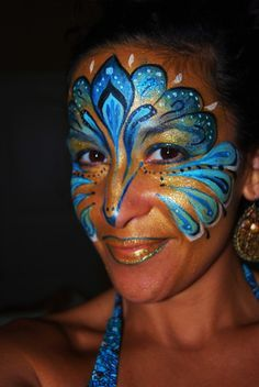 Heather's Living Art - Face & Body Painting - Heather's Living Art – Face & Body Painting - Peacock Face Painting, Adult Face Painting, Face Painting Designs, Painting Art, Peacock Makeup, Fantasy Make Up, Cool Face, Make Up Art, Maquillage Halloween