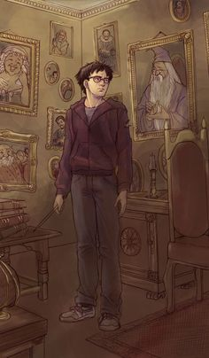 """""""He had one, brief glimpse of the stone Pensieve on the desk where he had left it, and then an earsplitting noise made him cry out, thinking of curses and returning Death Eaters and the rebirth of Voldemort -- But it was applause. All around the walls, the headmasters and headmistresses of Hogwarts were giving him a standing ovation . . ."""""""