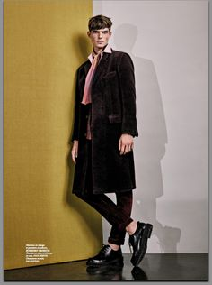 """""""Comme un air 70's""""   Manteau en alpaga et pantalon en velours, BURBERRY PRORSUM. Chemise en coton et écharpe en soie, PAUL SMITH. Chaussures en cuir, VALENTINO. Photographe : Thomas Goldblum / Réalisation : Benoit Martinengo Modèle : Guerrino Santulliana @ Elite Grooming : Christos Vourlis  Assistante styliste : Camille Bodinier  Opérateur numérique : Yann Gauthier @ Granon   Assistant photo : Gautier Picrel"""