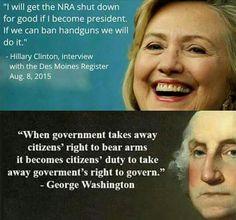 If we can ban handguns we will. No you won't Hillary Clinton!