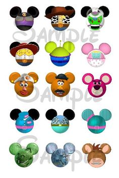 """Toy Story character inspired Mickey head DIGITAL Bottle Cap image sheet 4x6 1"""" inch  DIY"""