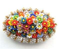 Vintage Beaded Brooch Hand Made Jewelry Colorful by kiamichi7 #beadwork