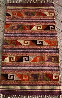Handwoven by artisans in Oaxaca, Mexico. Navajo Weaving, Navajo Rugs, Loom Weaving, Tapestry Weaving, Crochet Blanket Patterns, Textile Patterns, Textile Art, Textiles, Navajo Style