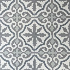 Cuba White Grey Encaustic Cement Tile - #cement #encaustic #floral #bathroomtiles #kitchentiles #moroccantiles