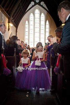 Flower Girl Dress of The Year Runner Up in Flamingo (Pink) and Regal (Purple) Tulle by Pegeen