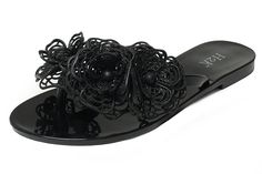 Jelly Flip Flops for Women FLORA Womens Summer Beach Flat Comfy Fashionable Jelly FlipFlops Thong Sandals SlipOn Slippers Shoes with Flower Embellishment Black Size 10 M US Size *** Awesome product. Click the image Jelly Shoes, Jelly Sandals, Slide Sandals, Shoes Sandals, Jelly Flip Flops, Flip Flop Slippers, Womens Flip Flops, Fashion Flats, Shoe Brands