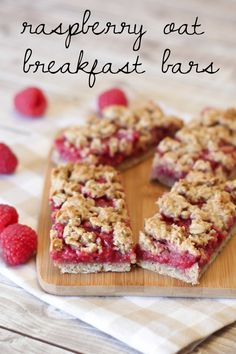 These almost look too good to be true! Gluten free vegan raspberry oat breakfast bars from @SarahBakes