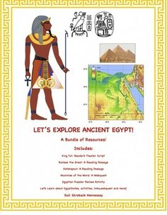 This BUNDLE is great for a unit of study on ancient Egypt. Included are the following six resources which you can also purchase separately.1. Ramses the Great, pharaoh of ancient Egypt,a reading passage 2. Hatshepsut, First Female Pharaoh, a reading passage 3.Unit of study on Egypt(with notes, links, web quest) 4. King Tut: A Reader's Theater Script  5. Egyptian Puzzler 6. Mummies of the World: A Webquest