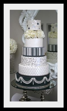 Black and White Wedding Cake with Flowers by House of Clarendon in Lancaster, PA.