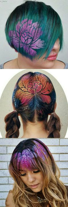 Floral dyed flower hair art @janine_ker_hair