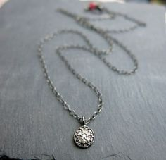 Pave Diamond Disc necklace/ tiny Raw pave by LaurenBlakeCreations
