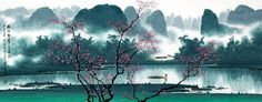 Chinese Landscape Painting of Mountain, Village and Fishing Boat