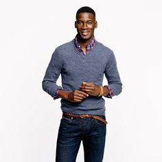 Slim rustic merino V-neck elbow-patch sweater - Rustic Merino - Men's sweaters - J.Crew