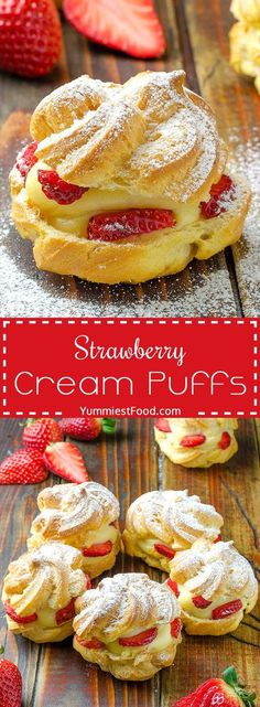 Strawberry Cream Puffs - this is a dreamy dessert! These Strawberry Cream Puffs make perfect snack or dessert. Very easy to make with few ingredients! These Strawberry Cream Puffs are so light, fresh, moist and delicious. Perfect for every occasion! Oreo Dessert, Brownie Desserts, Mini Desserts, Easy Desserts, Delicious Desserts, Yummy Food, Appetizer Dessert, Light Desserts, Healthy Food