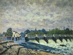 Alfred Sisley - Molesey Weir at Hampton Court Morning 1874