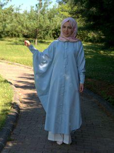 Jean Cloak  Ice Blue Jean Poncho Hijab Tunic Handmade Tunic Poncho Hijab Abaya