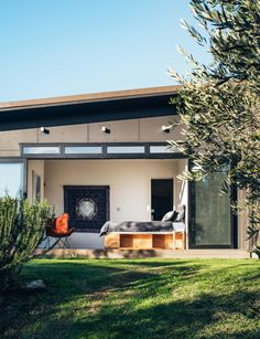 High-quality materials shine out in simple furnishings that have a penchant for the raw and natural in this Hawke's Bay Airbnb amidst an olive grove. Little Cottages, Small Houses, House Tours, Middle, House Design, Space, Outdoor Decor, Ideas, Home Decor