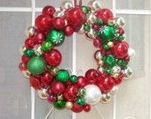 16 inch Traditional Christmas Ornament Ball  and Bell Wreath- Made to order