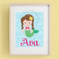 Printable Mermaid wall art (you print)  -  home decoration - wall art - room decorationnotes on Etsy, $5.00