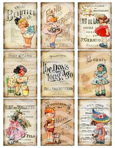Digital Collage Sheet Vintage Girls Printable by TheVintageRemix