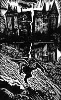 0041388 © GrangerPOE: HOUSE OF USHER, 1839.   'Fall of the House of Usher' by Edgar Allan Poe. Wood engraving, 1938, by Douglas Percy Bliss.