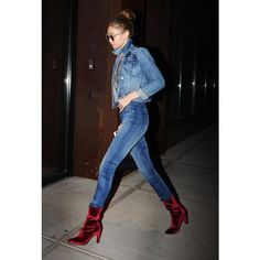 Gigi Hadid Tops Her Denim-on-Denim Look With Eye-Popping Velvet Boots ❤ liked on Polyvore featuring photo