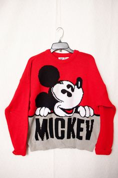 Mickey Mouse Large Sweater | Vintage Mickey & Co. Sweater | Red Mickey…