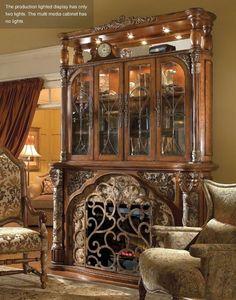 Michael Amini Villa Valencia Classic Chestnut Fireplace by AICO