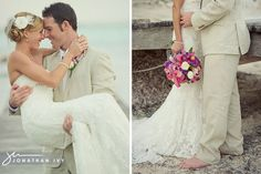 belize beach wedding bride & groom