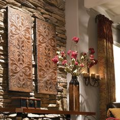 Tuscan St/2 Distressed Wall Panels Scroll Design These decorative wall panels are finished in heavily antiqued, rust brown with burnished distressing and gold highlights.dimensions:14 W X 41 H X 2 Dweight: 32 lbs.Materials: mdfListing may show other items