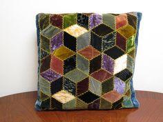 Falling Blocks Quilt Pillow Velvet Diamonds Primitive Tumbling Block on Etsy, $30.00